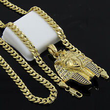 "Mens Gold Plated Hip-Hop Iced Cz Pharaoh Pendant 24"" Cuban Chain Necklace D529"