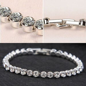Image Is Loading Silver Plated Tennis Bracelet Made With Swarovski Crystal