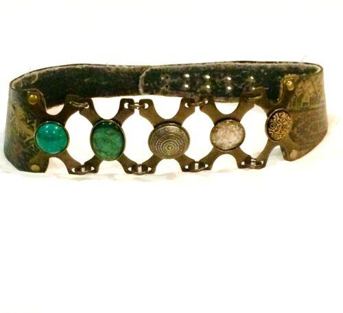 LAISE ADZER Belt Handmade Leather Metal & Natural… - image 1
