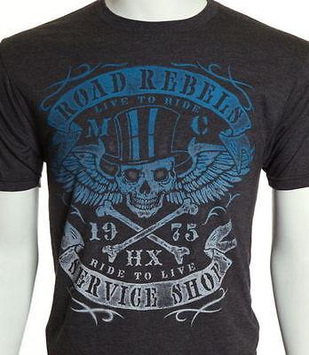 HELIX BRAND Men T-Shirt REBEL Skull Motorcycle Biker Designer $28 NWT