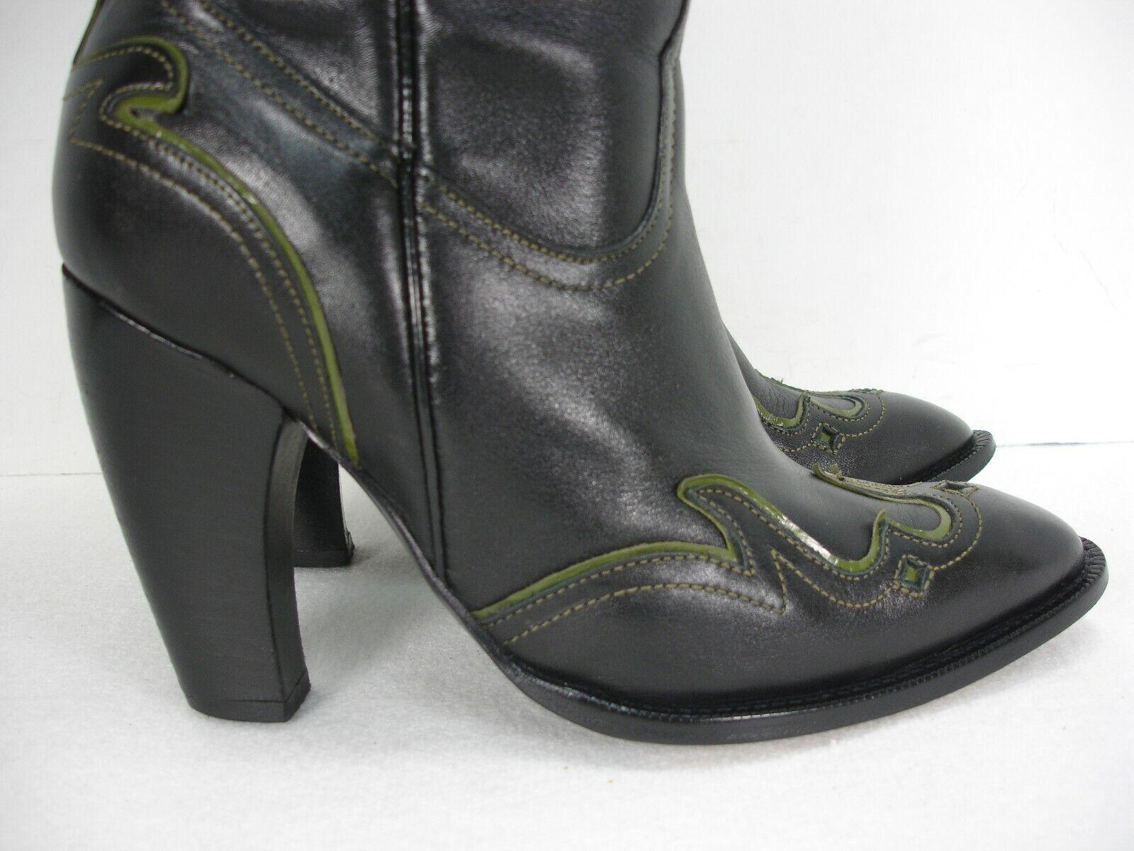 JUSTIN 7852 BLACK GREEN OVERLAY OVERLAY OVERLAY CURVED HEEL COWBOY WESTERN BOOTS WOMEN'S 6.5 B c2e4d3
