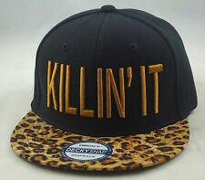 "NEW ""KILLIN IT"" LEOPARD 3D FLAT BILL SNAPBACK CAP HIPHOP HAT BLACK/LEOPARD"