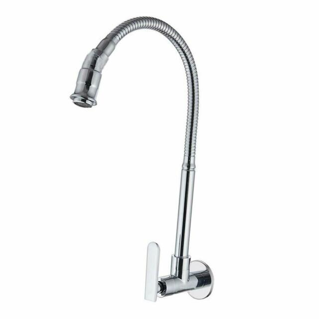 Wall Mount Kitchen Sink Faucet Stainless Steel Chrome Finish 360°Swivel