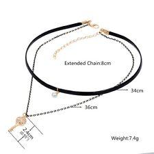 Collier double chaîne en cuir, Or Strass pendentif clé + perle pour Femme
