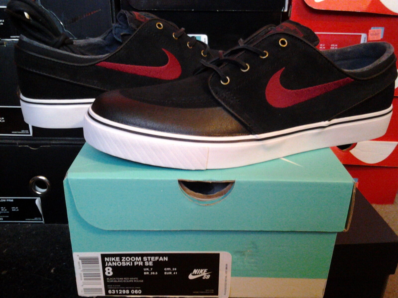 Nike Air Zoom Stefan Janoski SB PR PR PR Premium SE Black Team Red White sp 631298 060 07d349