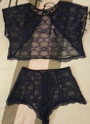 Victorias Secret Lingerie Camisole Open Back High Waist Short Set Crochet Lace S