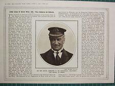 1915 WWI WW1 PRINT ~ BRITISH COMMANDER VICE-ADMIRAL JOHN MICHAEL DE ROBECK