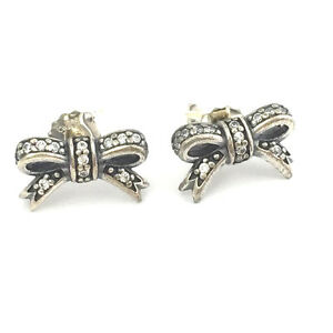 32bb3399b746d Details about Authentic Pandora Sparkling Bow Stud Earrings 925 Silver CZ  290555CZ, New