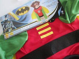 Image is loading Batman-ROBIN-DOG-Pet-COSTUME-XL-Shirt-Detachable- & Batman ROBIN DOG Pet COSTUME XL Shirt Detachable Cape Mask NEW Super ...