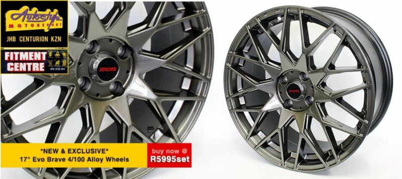 EVO 17 inch 4-100 PCD Alloy wheels, set of 4 tyres also available at unbeatable prices  Autostyle Mo
