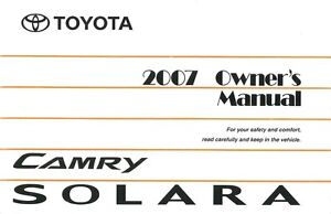 2007 toyota camry solara owners manual user guide reference operator rh ebay com Maintenance Schedule Toyota Prius Maintenance Requirements