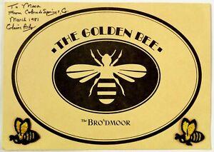 1981 Vintage Menu THE GOLDEN BEE The Broadmoor Hotel Colorado Springs Colorado
