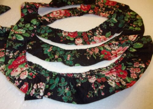 """FLORAL Decorate-Sewing 1¼/"""" Gathered Ruffled BTYard Cotton Trim BLK-PINK-RED GRN"""