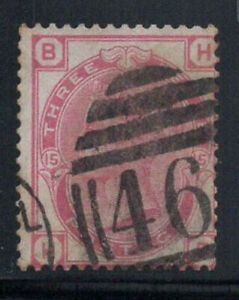 Gran Bretagna 1873 MER. 41 timbrato 40% Regina Vittoria, 3 pence, B, H.