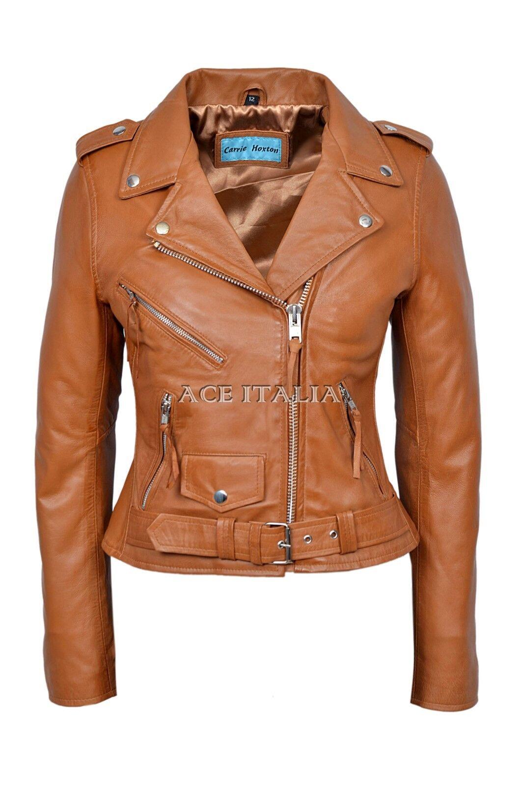 Clásico Estilo Motociclista BRANDO Damas Bronceado Motocicleta Crucero Piel de  cordero cuero chaqueta  buen precio