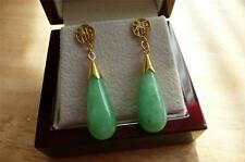 COOL GREEN JADE 925 STERLING SILVER YELLOW GOLD PLATED LONG DROP DANGLE EARRINGS