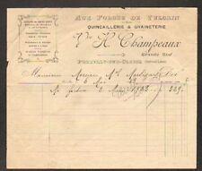 """PREUILLY-sur-CLAISE (37) QUINCAILLERIE """"AUX FORGES DE VULCAIN H. CHAMPEAUX"""" 1923"""
