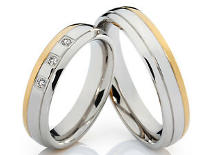 2 Rings Wedding Rings & Engraving with many Zirconia