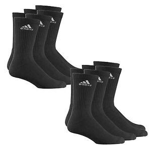 where to buy designer fashion large discount Details zu 6 Paar ADIDAS Crew Sportsocken schwarz m. Logo Tennissocken  Vorteilspack Socken