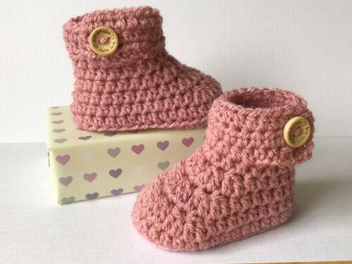 Crochet Knitted Baby Bootees Boots Booties Shoes Various Sizes Vintage Pink