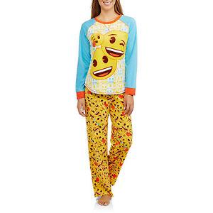 d4eb2e0a6d34 Womens 2 piece EMOJI Adult 2X-3X Fleece Pajamas Top   Lounge Pants ...