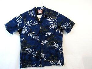 RJC-Hawaiian-Camp-Shirt-Mens-XL-100-cotton-blue-tropical-print-made-in-Hawaii