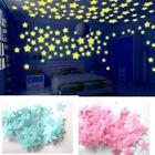 100 pcs Wall Stickers Stars Plastic New Glow In The Dark Fluorescent Luminous 3D