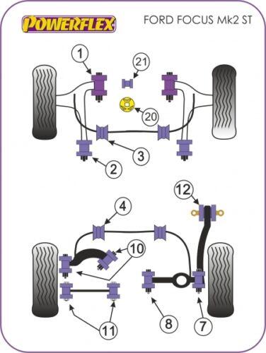 DIAGRAM 12 POWERFLEX BUSHES PFR19-812 REAR TRAILING ARM BLADE FORD FOCUS MK2