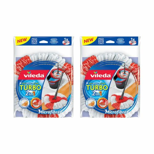 Pack of 2-Re Vileda EasyWring and Clean Turbo 2-in-1 Microfibre Mop Refill Head