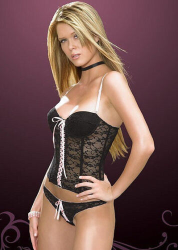 COQUETTE P890 Luxury Decorative Underwired Padded Boned Corset and Thong Set