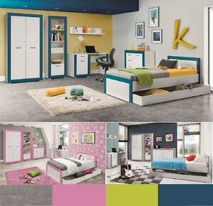 Jugendzimmer Kinderzimmer komplett 4TEEN SetB weiß grau rosa türkis ...