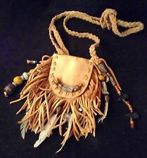 MEDICINE BAG Authentic NATIVE AMERICAN Feathers BEADS Rabbit SHAMAN Totem