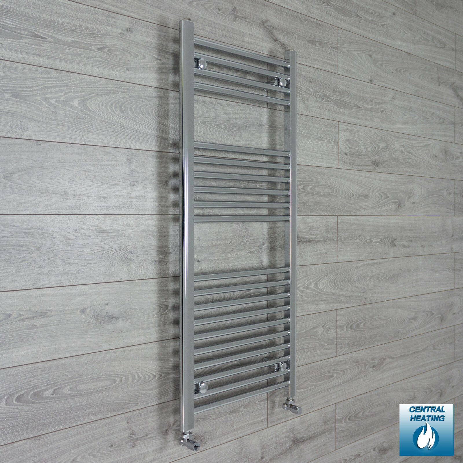 600mm Wide 1200mm High Flat Chrome Heated Towel Rail Radiator Central Heating