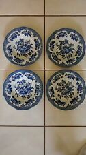 """SET OF 4 JOHNSON BROTHERS ASIATIC PHEASANT BLUE ENGLAND SOUP BOWLS  9"""""""