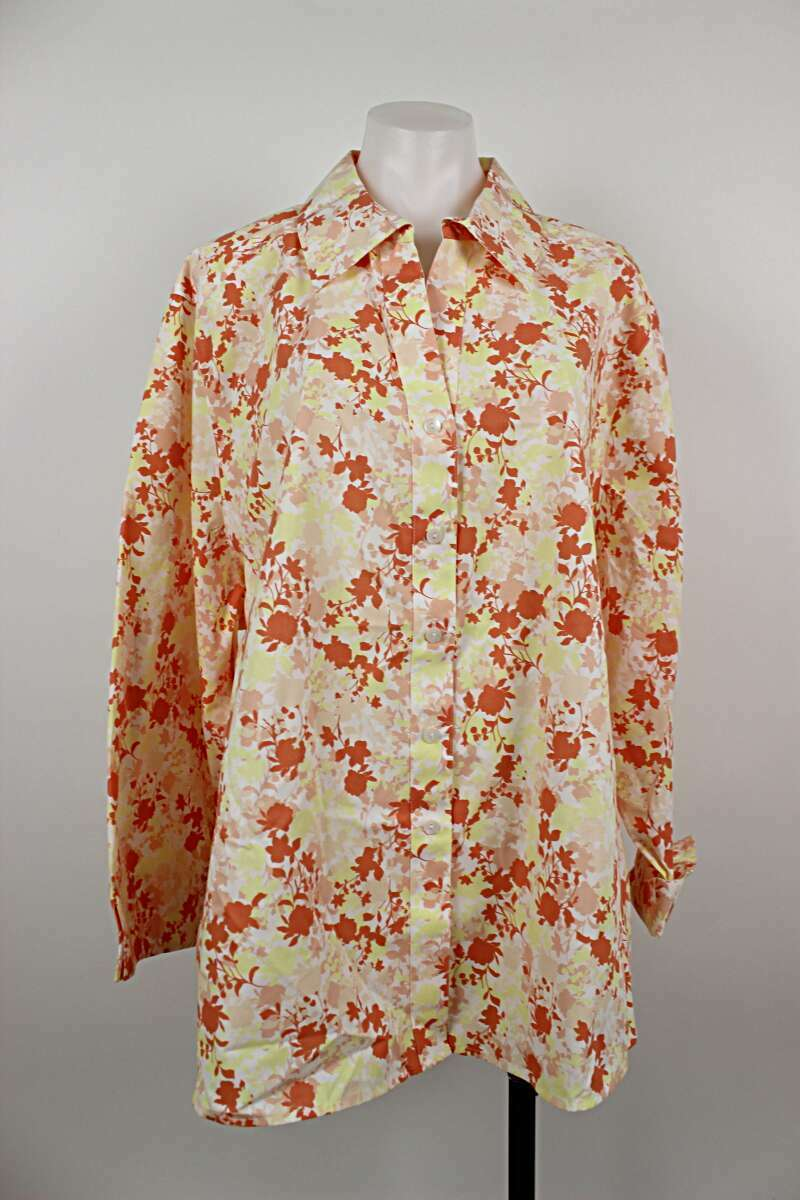 Foxcroft NWT Coral Floral Wrinkle Free Shaped Button Up Top Größe 24W