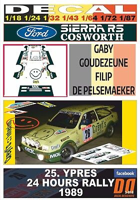 01 1989 WINNER DECAL FORD SIERRA RS COSWORTH R.DROOGMANS YPRES 24 HOURS R