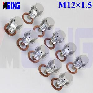 10Ps-M12X1-5-Engine-Magnetic-Oil-Pan-Drain-Plug-Bolt-Kit-Crush-Washer-Nut-SL