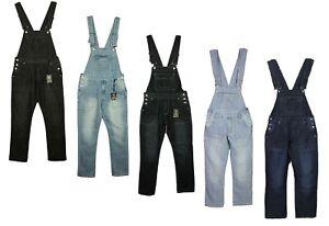 Mens-Jeans-Peto-Vaquero-King-Size-grande-en-colores-negro-a-mediados-de-Lavado-Tallas-30-70