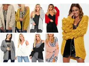 Chunky-Cable-Knit-Bobble-Bubble-Sleeve-Oversized-Longline-Cardigan-Winter-Jumper