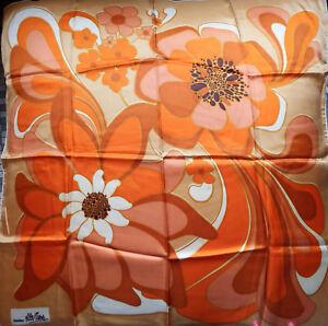Foulard-Carre-Vintage-Seventies-70-039-s-Grosses-Fleurs-Creation-ELLE-AIME