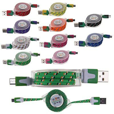 Universal Micro USB A to USB 2.0 B Retractable Data Sync Charger Cable Cord New
