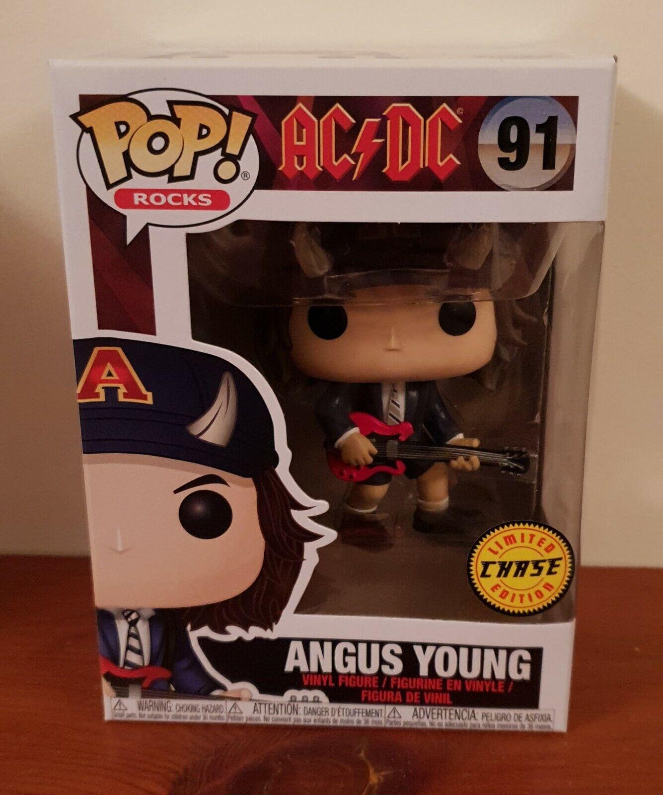 RARE POP FUNKO AC DC ANGUS YOUNG CHASE LTD ED HORNS VINYL FIGURE 91 FREE CASE