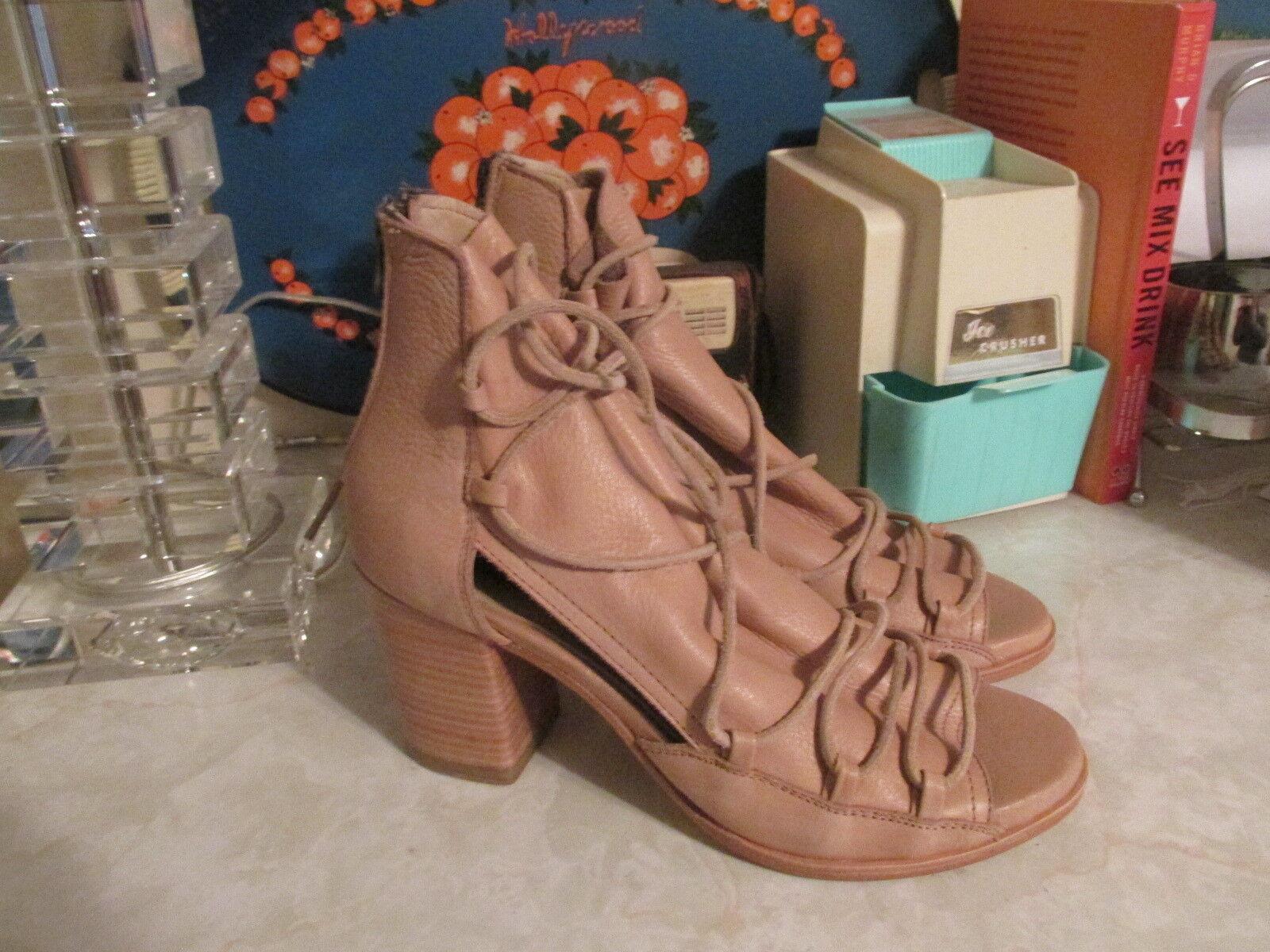 Baske Ariel Leather Lace Up Block Heel Sandal, size 8 fits like 9 NWOB
