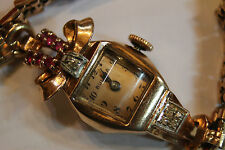 Vintage Ladies 14k Rose Gold Diamond & Garnet Bulova Wristwatch RUNS! LOOK!! JSH