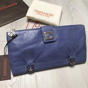 Bag genuino Silver Purple Silver Gherardini Clutch Nuevo Bnwt Violet 100 Etnq8xvnTX