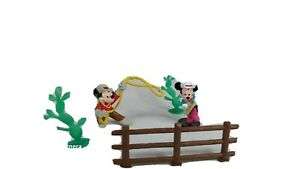 "Vtg Disney Mickey Minnie Mouse Cowboy Rodeo Set Cactus 2.5"" Figure PVC Applause"
