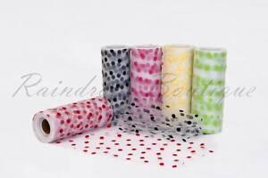 Tutu-Nylon-Tulle-Rolls-6-034-x-10-yards-POLKA-DOTS-soft-netting-craft-fabric