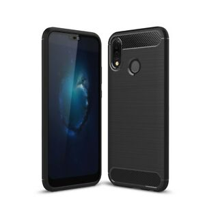 Huawei-P20-Lite-TPU-Case-Carbon-Fiber-Optik-Brushed-Schutz-Huelle-Cover-Schwarz