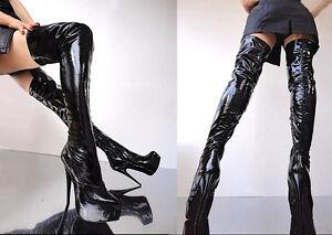 Black Couture Boots Cq Noir Stiefel Platform 45 Stretch Détails Leather Overknee Bottes Sur f76Ybvgy