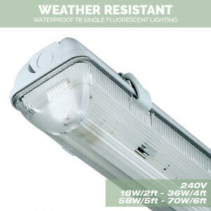 Single Weatherproof Non corrosive Fluorescent Lights 18W/2Ft 36W/4ft ...